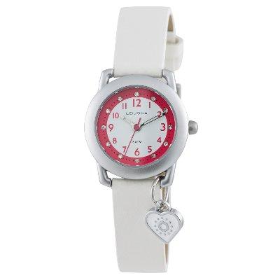 Leijona tyttöjen valkoinen kello sydänamuletti