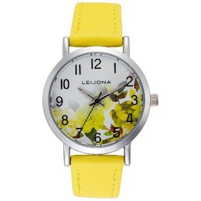 Leijona tyttöjen kello keltaisia kukkia