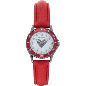 Leijona tyttöjen kello punaisella rannekkeella ja sydänkuviolla