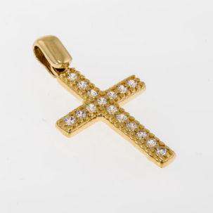 Keltakultainen risti zirkoneilla
